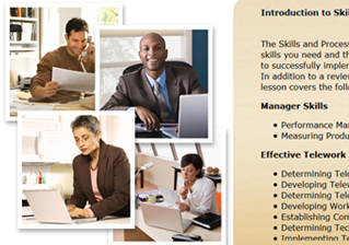 A screen capture of the telework training module